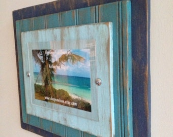 5 x 7 Distressed Handmade Picture Frame - Night Sky Blue, Sky fall Blue & Whispering Turquoise