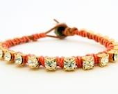 Ready to Ship / Rhinestone friendship bracelet / brown / melon coral peach salmon nectarine pastels tutti frutti / brass