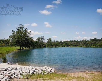 Blue Lake, Clear Sky, Lakeside View, Mid West America, Indiana, Clear Blue Lake Water Photo, Fine Art Photography, Scenic, Serene, Calm