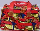 African Print Ankara Red Shoe Oil Cloth African Print Day Bag (WOW ETSY PRICE - Look!) - Shiny Gloss Look - Truly Unique
