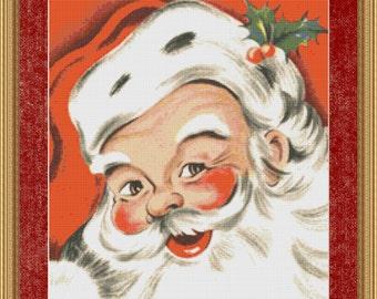 Cross Stitch Pattern Vintatge Santa Design Instant Download PdF