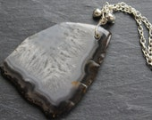 SALE Pale Pink Agate Slice Necklace - Natural Stone Patterns - Silver Plated Chain