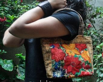 SALE! Flower Garden Handbag made of Guatemalan Fabrics Woven Corte Fabric and Machine Embroidery