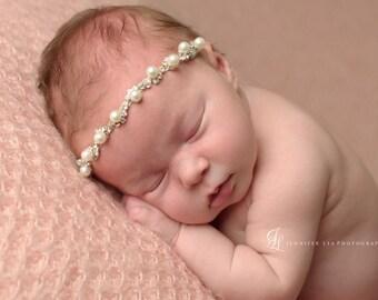 Pearl Crystal Luxe Headband - Jacalyn - Girls Newborn Infant Child Toddler Teen Adult