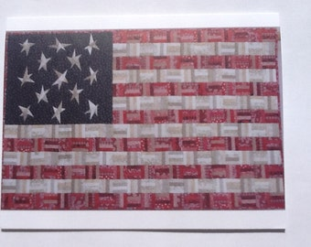 Set of 10 American Flag quilt note cards (folded)
