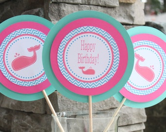 WHALE OF A TALE Birthday or Baby Shower 3 Piece Centerpiece Pink Aqua