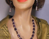 "18"" Amethyst and crystal OOAK necklace or choker and pierced earrings"