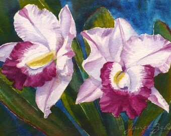 Tropical Flower Painting Magenta Orchids Original Watercolor 4x6 Unframed Art by Janet Zeh