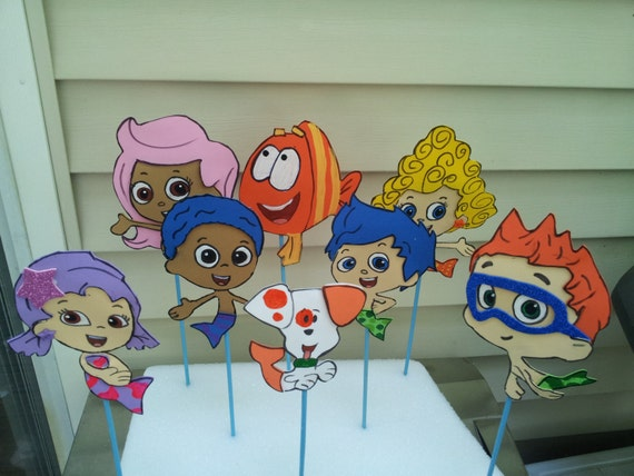 8 foam bubble guppies in stick great for centerpieces party - Bubble guppies center pieces ...