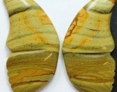 Yellow Jasper Butterflies - Pair of Two (2) Cabochons for Setting as Earrings, Jewelry Making, Craft Supply, Collectibles