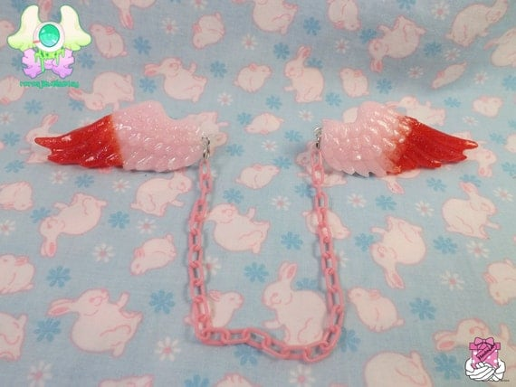 Fairy Kei Sweater Clips Angel Wings - Duo Tone Pink and Red