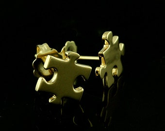Solid 14K Gold Puzzle Stud Earrings