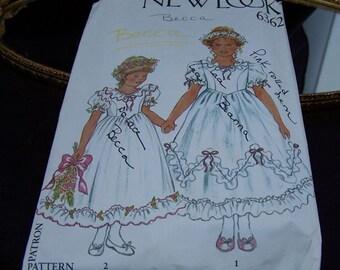 Vintage Girl's Flowergirl  Dress NewLook Pattern 6362  sizes 4-5-6-7-8