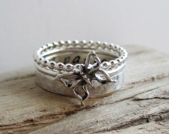 Butterfly Trio - Sterling Silver Stacking Rings - Set of 3