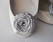 Handmade rose shoe clips bridal shoe clips wedding accessories in silver