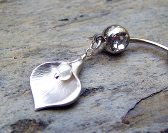 Bellybutton Ring Calla Lily Belly Button Jewelry Body Jewelry Navel Ring