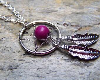 Silver Dreamcatcher Necklace Purple Dream Catcher Jewelry
