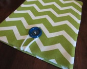 iPad Sleeve- Green chevron with blue botton- Clearance