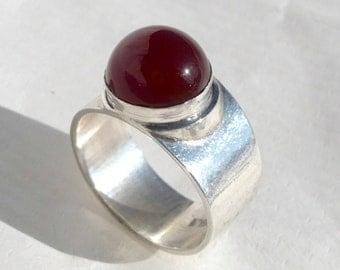cornelian stone, sterling silver ring