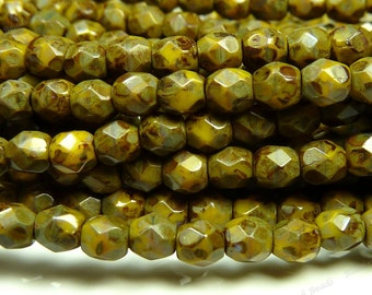 3mm Sunflower Yellow Picasso Czech Glass Beads - 5 Inch Strand (50pcs) - Round, Faceted, Fire Polished - BD37
