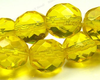 10mm Yellow Faceted Round Czech Glass Beads - 16 Inch Strand - Fire Polished Glass - BD21
