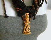 SKELETON NECKLACE, Carved Bone Pendant, Black Fabric Necklace, Sword and Skulls. Ready to Ship