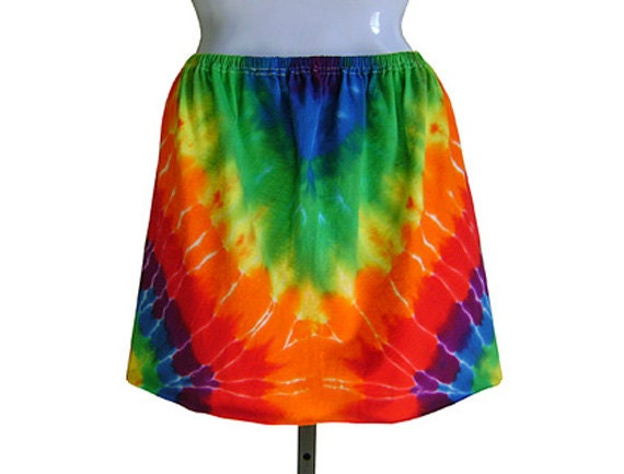 TIE DYE MINISKIRT, Four Different Looks. Rainbow Red, Purple, Blue, Green, Yellow. One size fits most. Ready to Ship