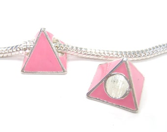 3 Beads - Light Pink Triangle Pyramid Silver European Bead Charm E1205
