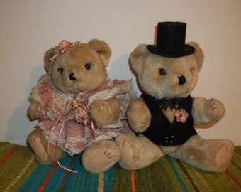 Vintage 1980s Wedding Bears  FREE SHIPPING