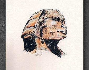 Sunrise Sphinx - Original Watercolor / BW Print