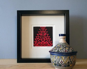 FRAMED Alhambra II Linocut Hand Pulled Original Relief Print Edition of 30