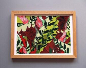 FRAMED Sing Red Giclée Print A4