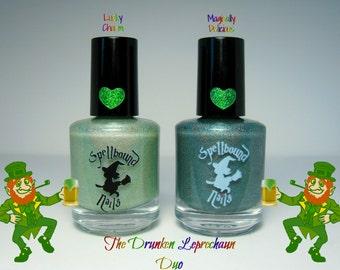 FULL SIZE The Drunken Leprechaun Duo - Green Holographic Glow in the Dark Nail Polish