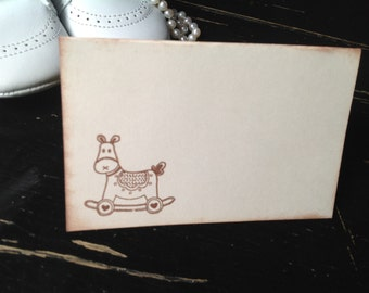 Rocking horse baby  shower place cards-Horse-gender neutral baby shower-Seating cards-Set of 12