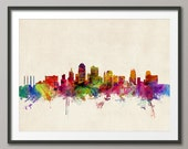 Kansas City Skyline Cityscape Art Print (968)