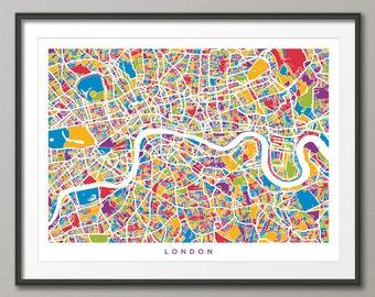 London Map, Street Map of London England, Art Print (436)