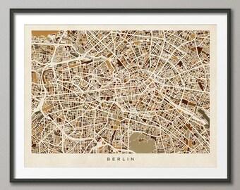 Berlin Germany Street Map, Art Print (446)