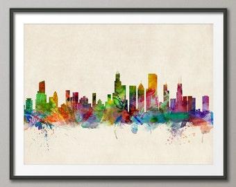 Chicago Skyline, Chicago Illinois Cityscape Art Print (470)
