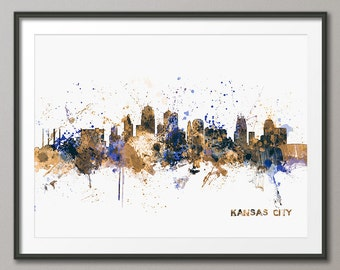 Kansas City Skyline Cityscape Art Print (1021)