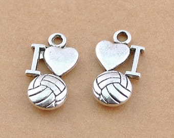 10 Volleyball Charms Tibetan Silver Antique Silver Tone 16 x 9 mm - ts418