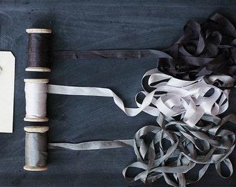 """Dark Brown Silk Ribbon on Wood Spool --  5/8"""" Wide - 20 Yards"""