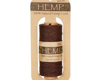 Dark Brown Hemp Cord Spool --  205 Feet -- 20lb Wt