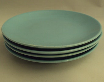 Vintage Steubenville Fairlane Solid Blue Bread & Butter Plates Set of 4
