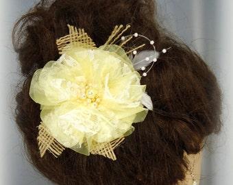 Bridal Hair Fascinator, Organza Hair Flower, Yellow Wedding Clip, Hair Accessory, REX14-137