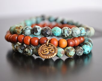 AFRICAN TURQUOISE and SANDALWOOD stretchy bracelet