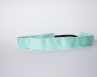 "No Slip Headband Aqua Grosgrain 3/8"", 5/8"", or 7/8"""