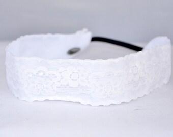 """No Slip Headband Wide White Lace 1.5"""""""