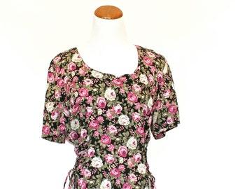 90's Vintage Rose Dress, Floral Dress, Casual Dress