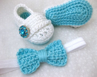 Baby Girl, Baby Shoes, Headband, Hair Bow, Flower Headband, SET, Teal, White, Newborn, Newborn Photos, Photo Prop, Crochet
