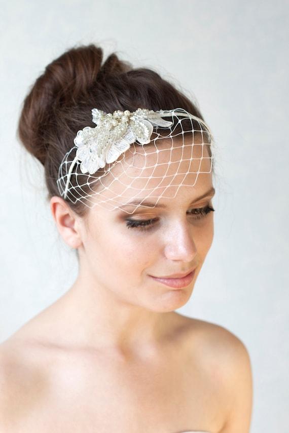 Bridal Ivory Birdcage Veil With Swarovski Crystal Beads